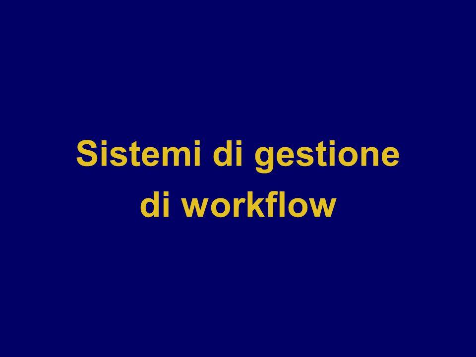 Workflow automation Tecnologie Tecnologie per il supporto alla gestione di processi è Groupware è Workflow Management Systems (WFMS) Workflow Coalition