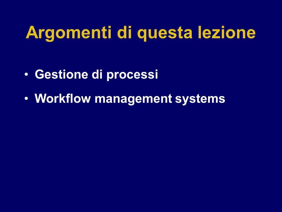 Argomenti di questa lezione Gestione di processi Workflow management systems