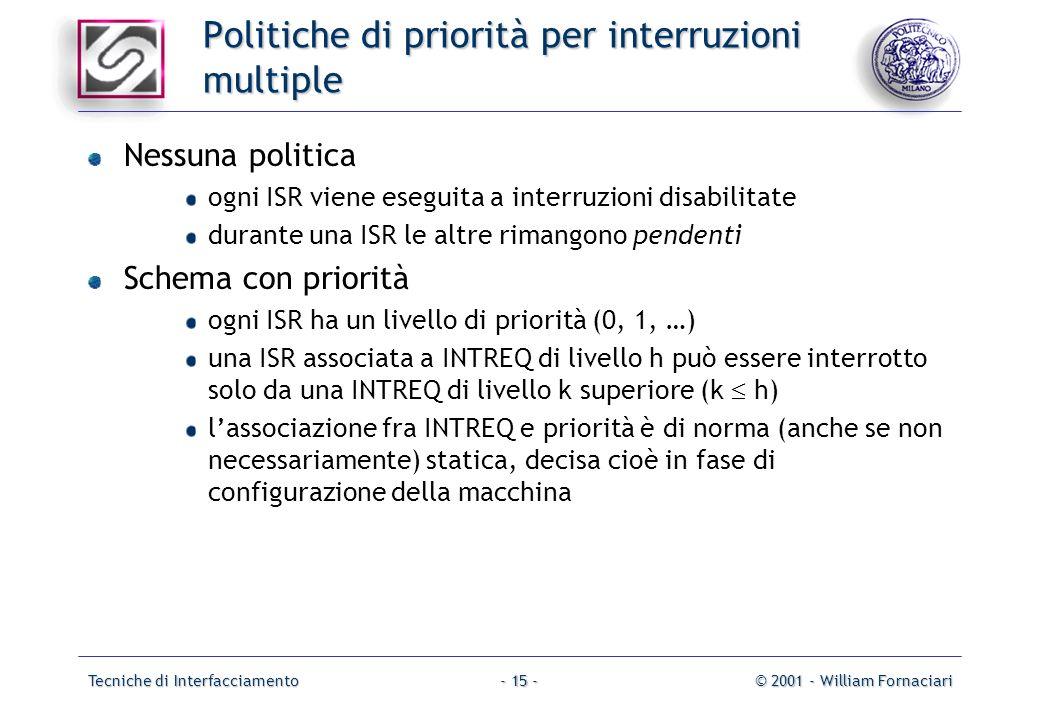 Tecniche di Interfacciamento© 2001 - William Fornaciari- 15 - Politiche di priorità per interruzioni multiple Nessuna politica ogni ISR viene eseguita a interruzioni disabilitate durante una ISR le altre rimangono pendenti Schema con priorità ogni ISR ha un livello di priorità (0, 1, …) una ISR associata a INTREQ di livello h può essere interrotto solo da una INTREQ di livello k superiore (k h) lassociazione fra INTREQ e priorità è di norma (anche se non necessariamente) statica, decisa cioè in fase di configurazione della macchina