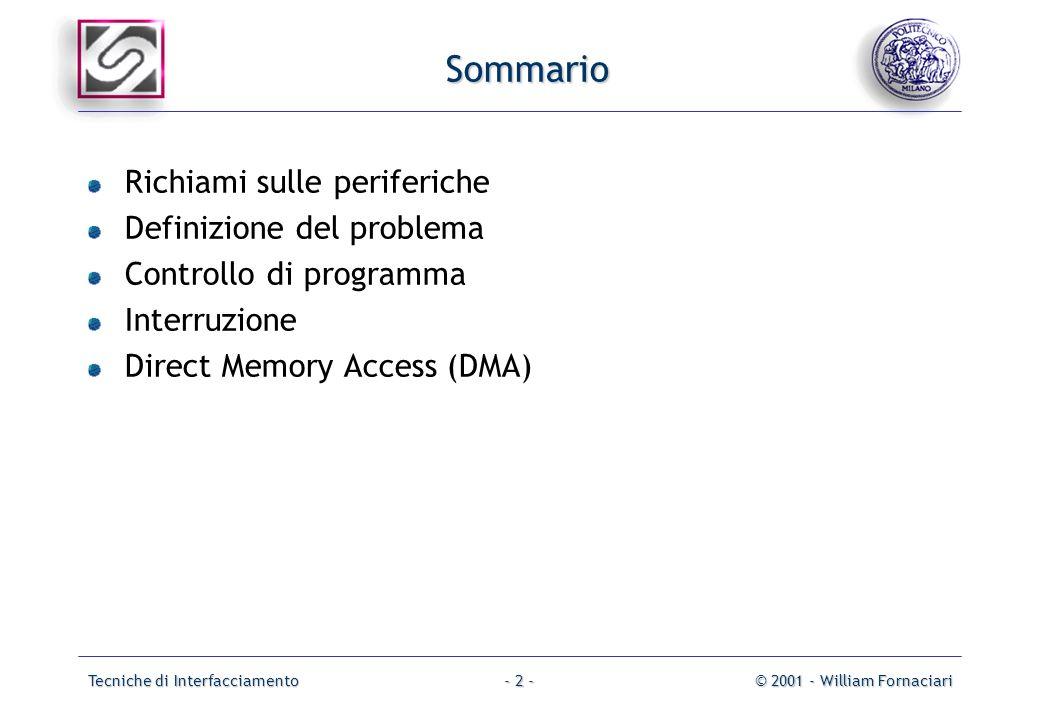Tecniche di Interfacciamento© 2001 - William Fornaciari- 2 - Sommario Richiami sulle periferiche Definizione del problema Controllo di programma Interruzione Direct Memory Access (DMA)