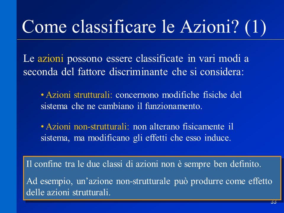 33 Come classificare le Azioni? (1) Le azioni possono essere classificate in vari modi a seconda del fattore discriminante che si considera: Azioni st