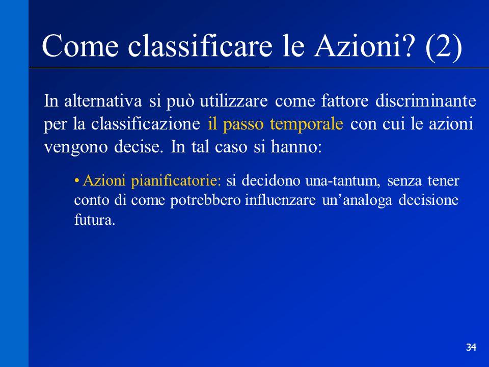34 Come classificare le Azioni? (2) In alternativa si può utilizzare come fattore discriminante per la classificazione il passo temporale con cui le a