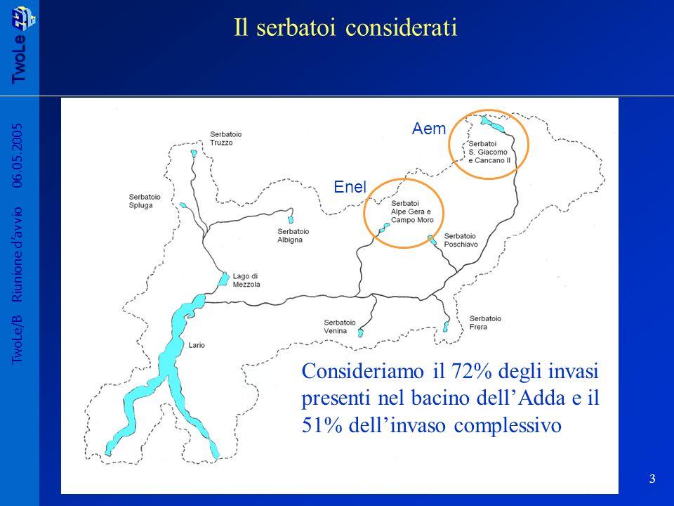 TwoLe 3 TwoLe/B Riunione davvio 06.05.2005 Il serbatoi considerati Consideriamo il 72% degli invasi presenti nel bacino dellAdda e il 51% dellinvaso complessivo Enel Aem