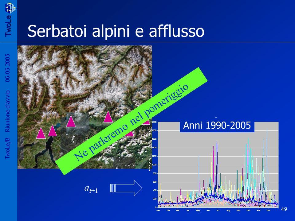 TwoLe 49 TwoLe/B Riunione davvio 06.05.2005 Serbatoi alpini e afflusso a t+1 Anni 1990-2005 Ne parleremo nel pomeriggio