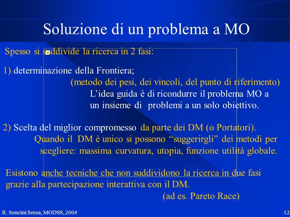 R. Soncini Sessa, MODSS, 2004 12 Soluzione di un problema a MO Spesso si suddivide la ricerca in 2 fasi: 1) determinazione della Frontiera; (metodo de