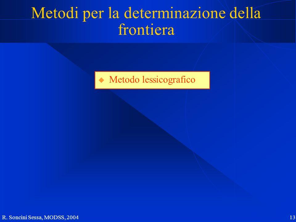 R. Soncini Sessa, MODSS, 2004 13 Metodi per la determinazione della frontiera Metodo lessicografico
