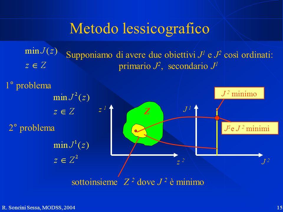 R. Soncini Sessa, MODSS, 2004 15 Metodo lessicografico Supponiamo di avere due obiettivi J 1 e J 2 così ordinati: primario J 2, secondario J 1 1° prob