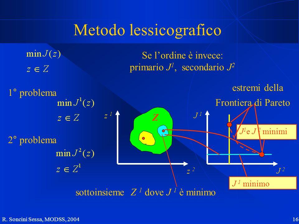 R. Soncini Sessa, MODSS, 2004 16 Metodo lessicografico Se lordine è invece: primario J 1, secondario J 2 1° problema J 2 J 1 z 2 z 1 2° problema Z sot