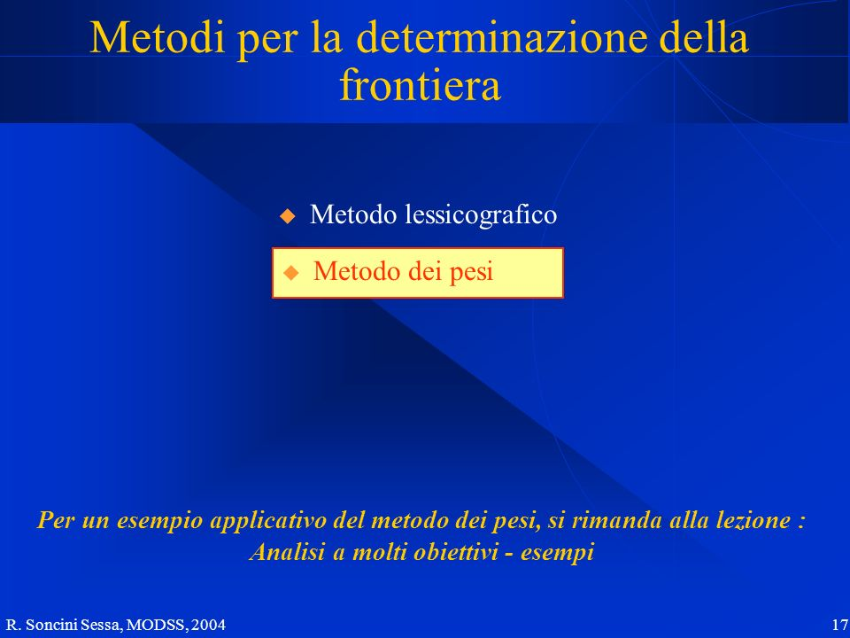 R. Soncini Sessa, MODSS, 2004 17 Metodi per la determinazione della frontiera Metodo dei pesi Per un esempio applicativo del metodo dei pesi, si riman