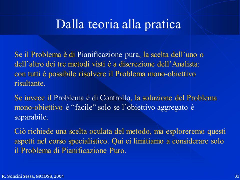 R. Soncini Sessa, MODSS, 2004 33 Dalla teoria alla pratica Se il Problema è di Pianificazione pura, la scelta delluno o dellaltro dei tre metodi visti