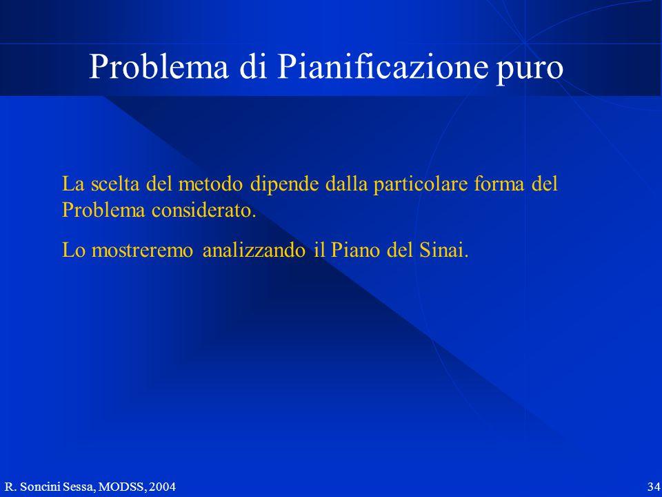R. Soncini Sessa, MODSS, 2004 34 Problema di Pianificazione puro La scelta del metodo dipende dalla particolare forma del Problema considerato. Lo mos