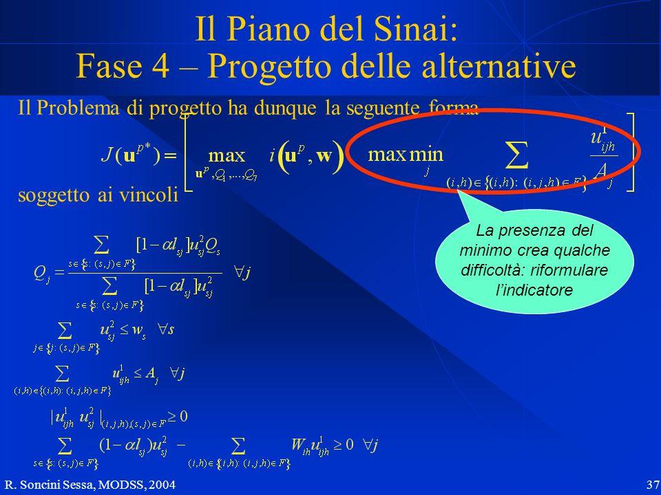 R. Soncini Sessa, MODSS, 2004 37 Il Piano del Sinai: Fase 4 – Progetto delle alternative Il Problema di progetto ha dunque la seguente forma soggetto