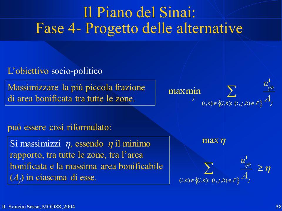 R. Soncini Sessa, MODSS, 2004 38 Il Piano del Sinai: Fase 4- Progetto delle alternative Lobiettivo socio-politico Massimizzare la più piccola frazione