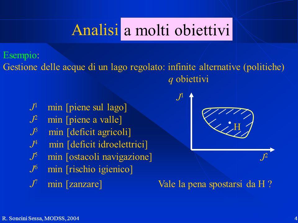 R. Soncini Sessa, MODSS, 2004 4 Analisi a molti obiettivi Esempio: Gestione delle acque di un lago regolato: infinite alternative (politiche) q obiett