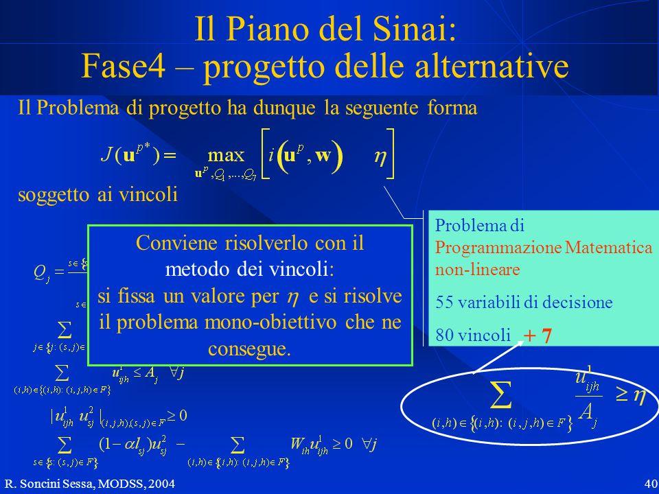 R. Soncini Sessa, MODSS, 2004 40 Il Piano del Sinai: Fase4 – progetto delle alternative Il Problema di progetto ha dunque la seguente forma soggetto a