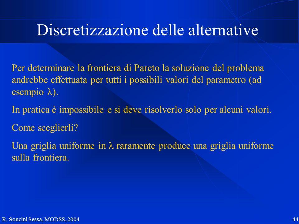 R. Soncini Sessa, MODSS, 2004 44 Discretizzazione delle alternative Per determinare la frontiera di Pareto la soluzione del problema andrebbe effettua