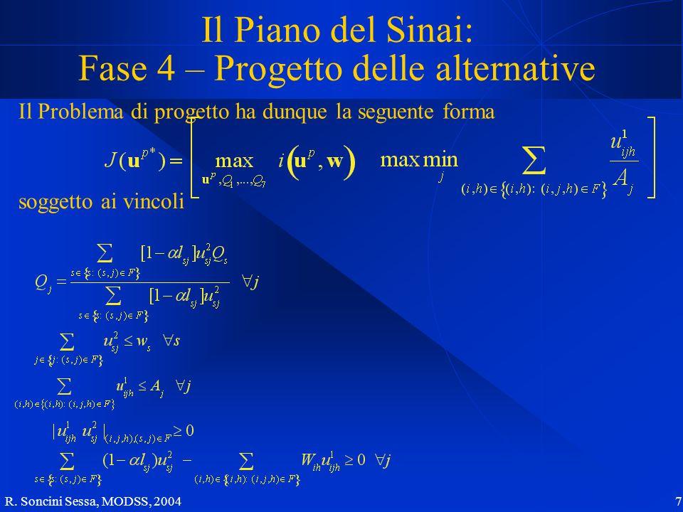 R. Soncini Sessa, MODSS, 2004 7 Il Piano del Sinai: Fase 4 – Progetto delle alternative Il Problema di progetto ha dunque la seguente forma soggetto a