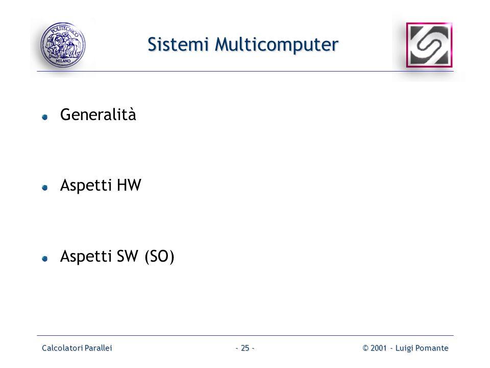 Calcolatori Parallei© 2001 - Luigi Pomante- 25 - Sistemi Multicomputer Generalità Aspetti HW Aspetti SW (SO)