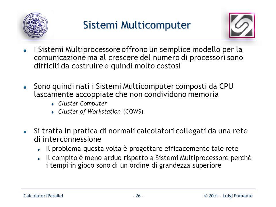 Calcolatori Parallei© 2001 - Luigi Pomante- 26 - Sistemi Multicomputer I Sistemi Multiprocessore offrono un semplice modello per la comunicazione ma a