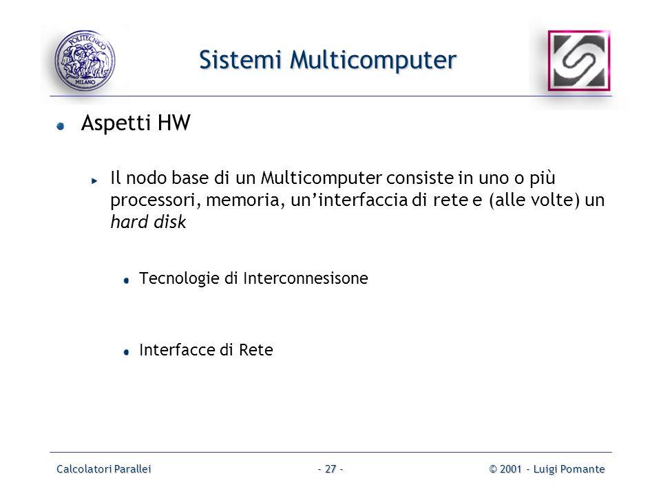 Calcolatori Parallei© 2001 - Luigi Pomante- 27 - Sistemi Multicomputer Aspetti HW Il nodo base di un Multicomputer consiste in uno o più processori, memoria, uninterfaccia di rete e (alle volte) un hard disk Tecnologie di Interconnesisone Interfacce di Rete