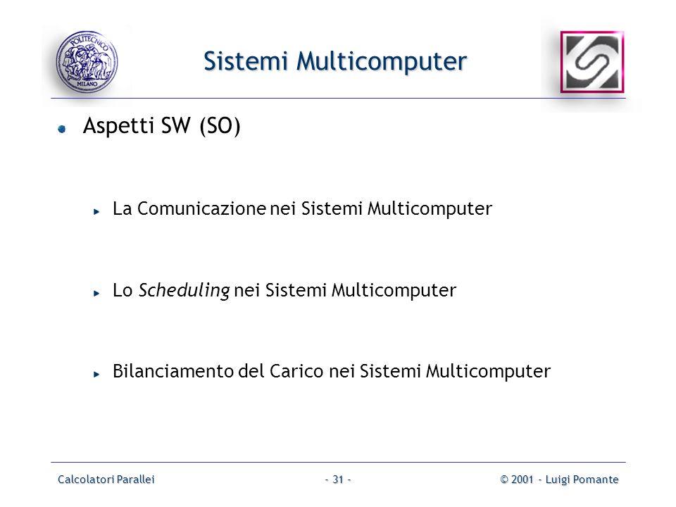 Calcolatori Parallei© 2001 - Luigi Pomante- 31 - Sistemi Multicomputer Aspetti SW (SO) La Comunicazione nei Sistemi Multicomputer Lo Scheduling nei Sistemi Multicomputer Bilanciamento del Carico nei Sistemi Multicomputer