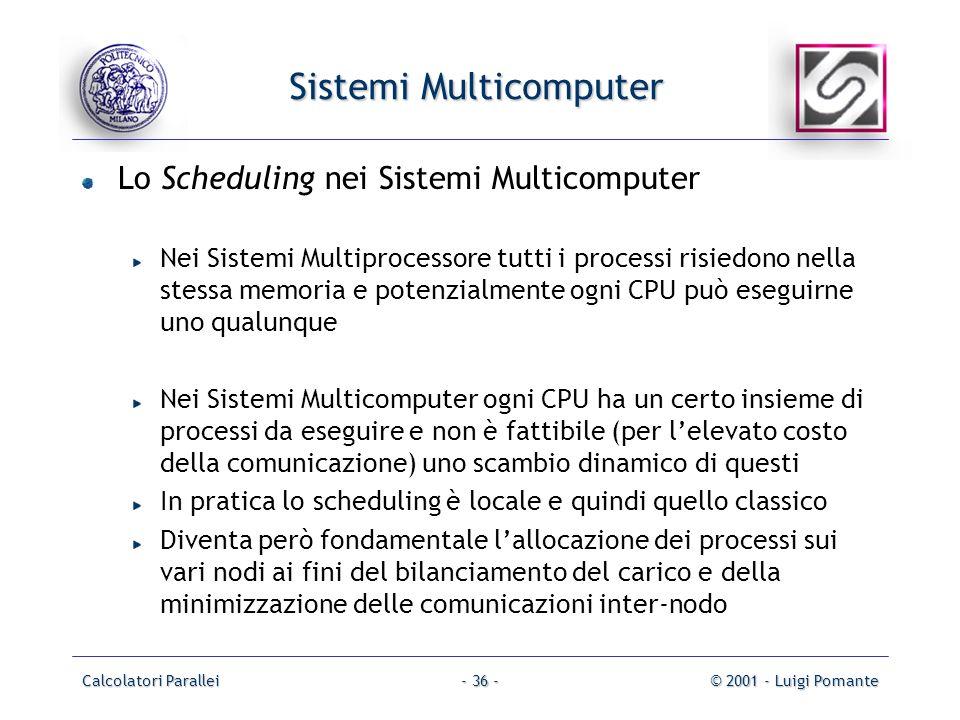 Calcolatori Parallei© 2001 - Luigi Pomante- 36 - Sistemi Multicomputer Lo Scheduling nei Sistemi Multicomputer Nei Sistemi Multiprocessore tutti i pro