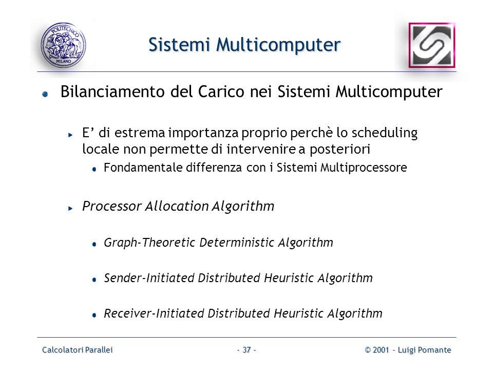 Calcolatori Parallei© 2001 - Luigi Pomante- 37 - Sistemi Multicomputer Bilanciamento del Carico nei Sistemi Multicomputer E di estrema importanza proprio perchè lo scheduling locale non permette di intervenire a posteriori Fondamentale differenza con i Sistemi Multiprocessore Processor Allocation Algorithm Graph-Theoretic Deterministic Algorithm Sender-Initiated Distributed Heuristic Algorithm Receiver-Initiated Distributed Heuristic Algorithm