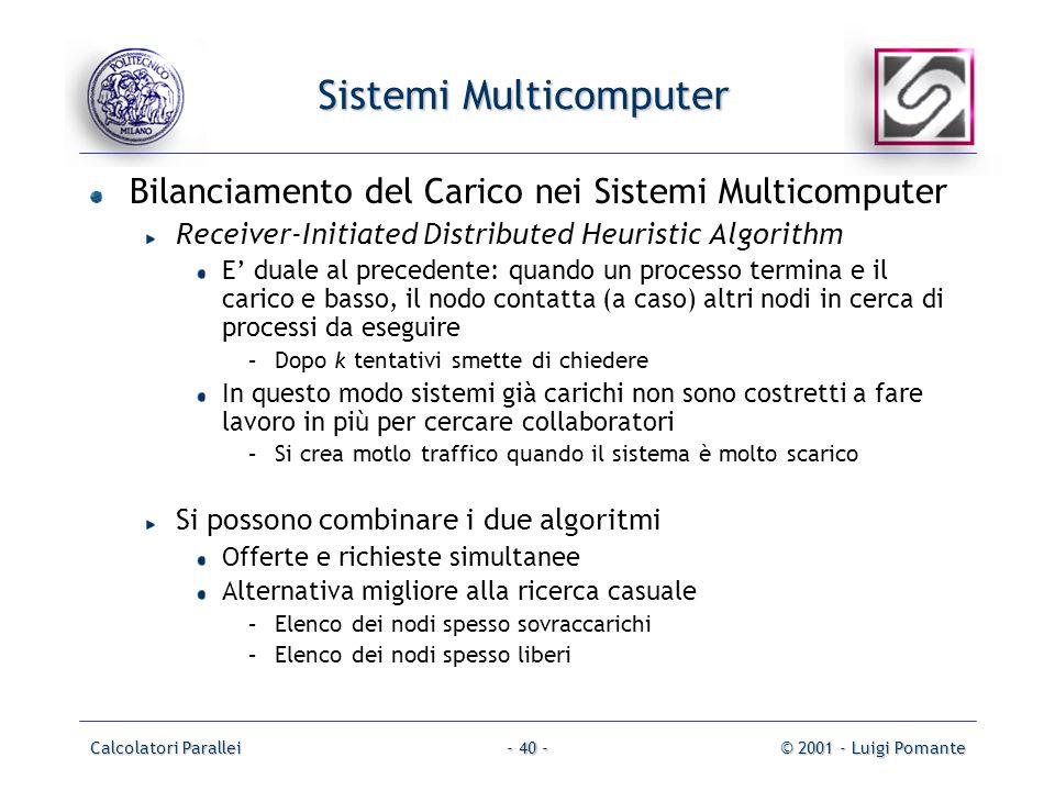 Calcolatori Parallei© 2001 - Luigi Pomante- 40 - Sistemi Multicomputer Bilanciamento del Carico nei Sistemi Multicomputer Receiver-Initiated Distribut