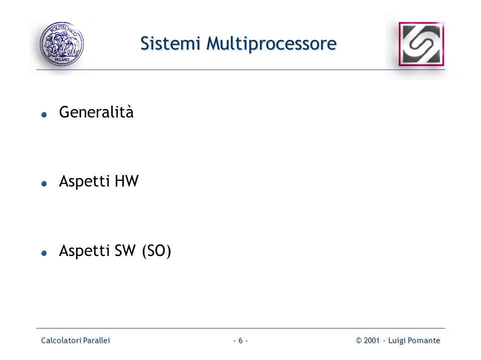 Calcolatori Parallei© 2001 - Luigi Pomante- 6 - Sistemi Multiprocessore Generalità Aspetti HW Aspetti SW (SO)