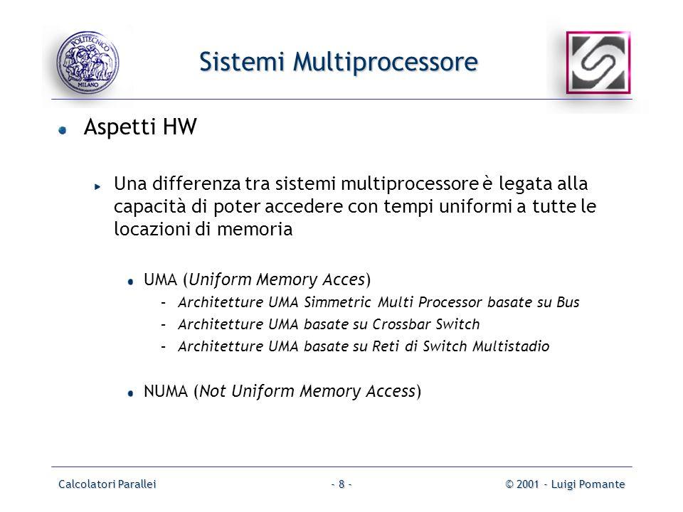 Calcolatori Parallei© 2001 - Luigi Pomante- 8 - Sistemi Multiprocessore Aspetti HW Una differenza tra sistemi multiprocessore è legata alla capacità d