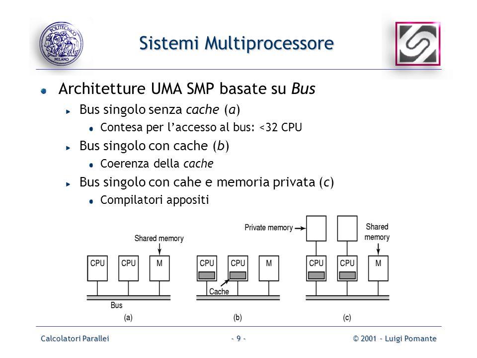 Calcolatori Parallei© 2001 - Luigi Pomante- 9 - Sistemi Multiprocessore Architetture UMA SMP basate su Bus Bus singolo senza cache (a) Contesa per laccesso al bus: <32 CPU Bus singolo con cache (b) Coerenza della cache Bus singolo con cahe e memoria privata (c) Compilatori appositi