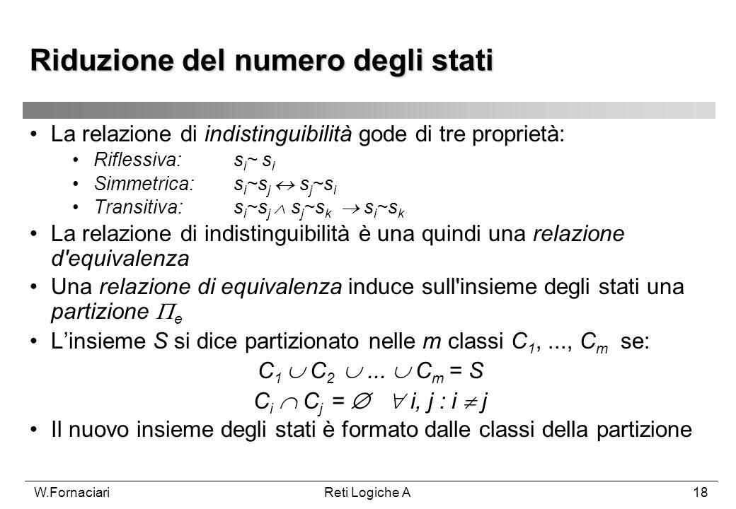W.FornaciariReti Logiche A18 La relazione di indistinguibilità gode di tre proprietà: Riflessiva:s i ~ s i Simmetrica: s i ~s j s j ~s i Transitiva: s