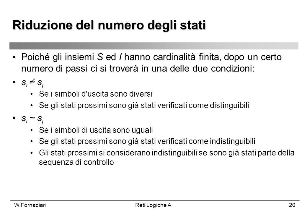 W.FornaciariReti Logiche A20 Poiché gli insiemi S ed I hanno cardinalità finita, dopo un certo numero di passi ci si troverà in una delle due condizio