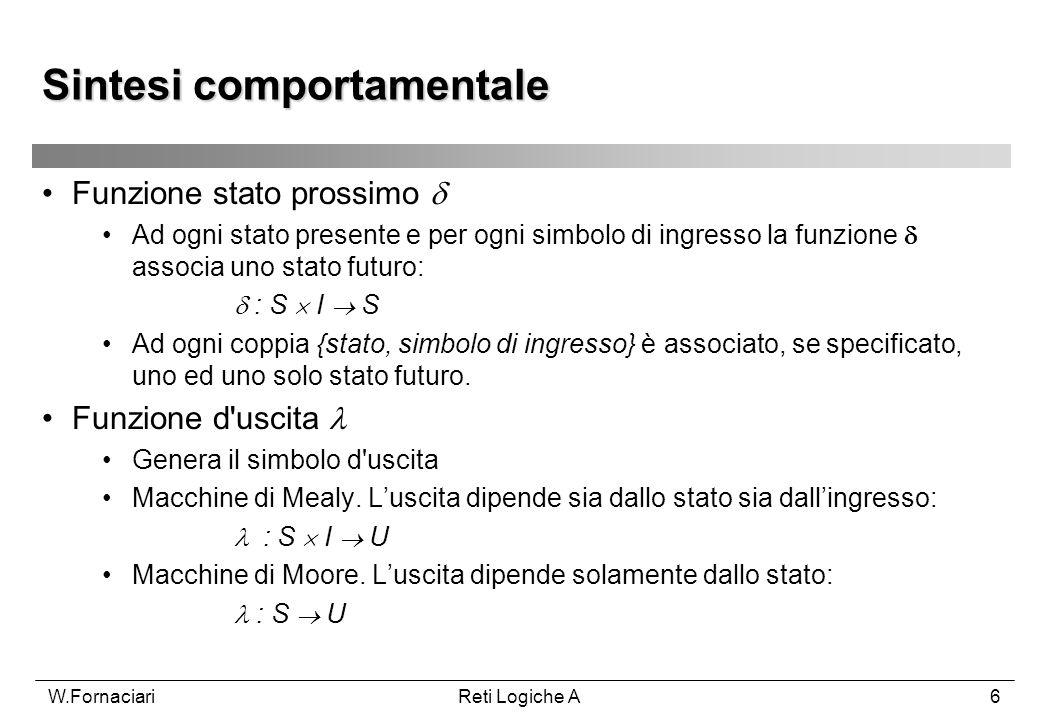 W.FornaciariReti Logiche A6 Funzione stato prossimo Ad ogni stato presente e per ogni simbolo di ingresso la funzione associa uno stato futuro: : S I