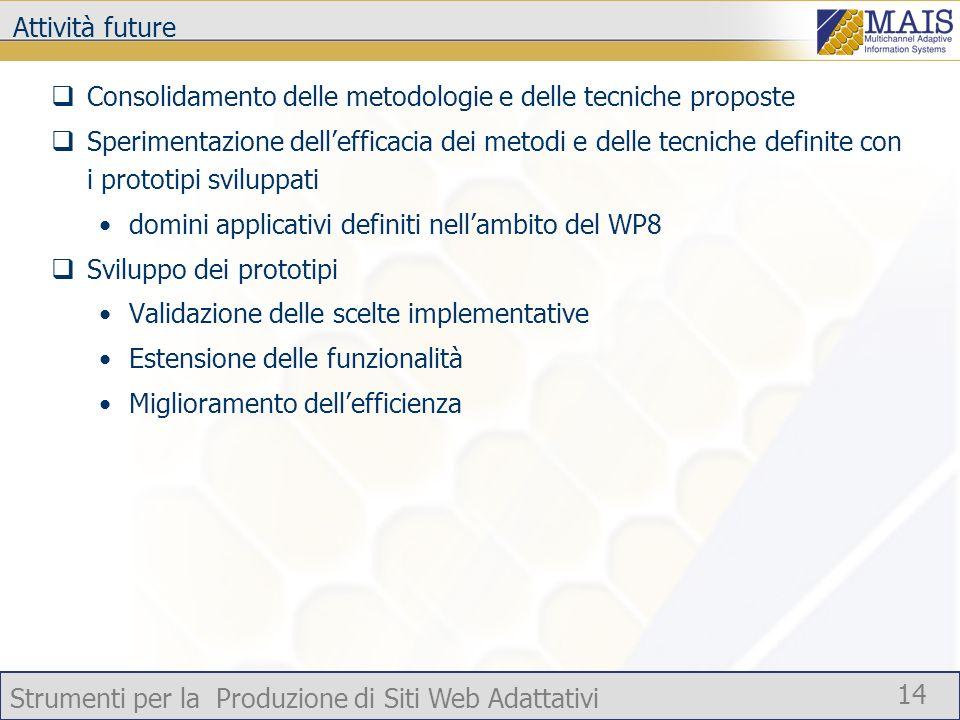 Strumenti per la Produzione di Siti Web Adattativi 14 Attività future Consolidamento delle metodologie e delle tecniche proposte Sperimentazione delle