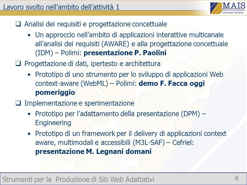 Strumenti per la Produzione di Siti Web Adattativi 5 Prototipo per la produzione di applicazioni Web context-aware Case tool che supporta la modellazione di pagine context-aware Generazione automatica del codice a partire dal modello