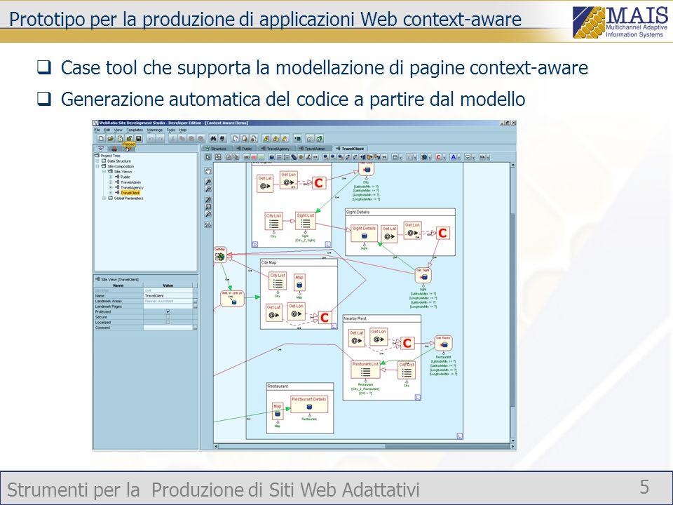 Strumenti per la Produzione di Siti Web Adattativi 5 Prototipo per la produzione di applicazioni Web context-aware Case tool che supporta la modellazi