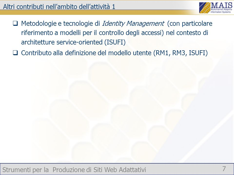 Strumenti per la Produzione di Siti Web Adattativi 7 Altri contributi nellambito dellattività 1 Metodologie e tecnologie di Identity Management (con p