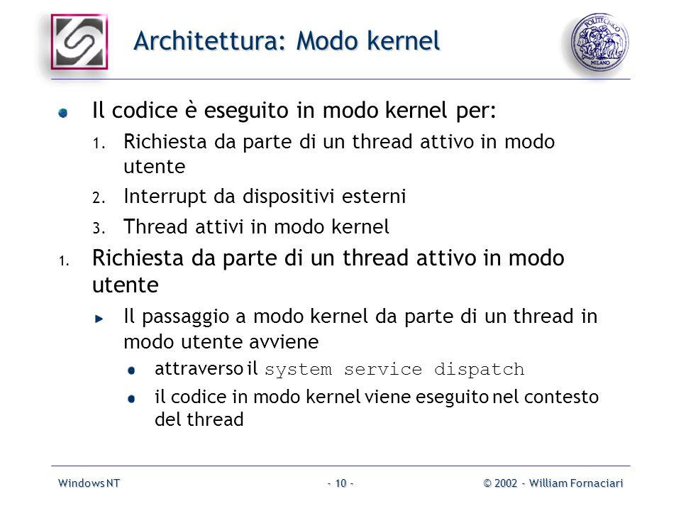 Windows NT© 2002 - William Fornaciari- 10 - Architettura: Modo kernel Il codice è eseguito in modo kernel per: 1.