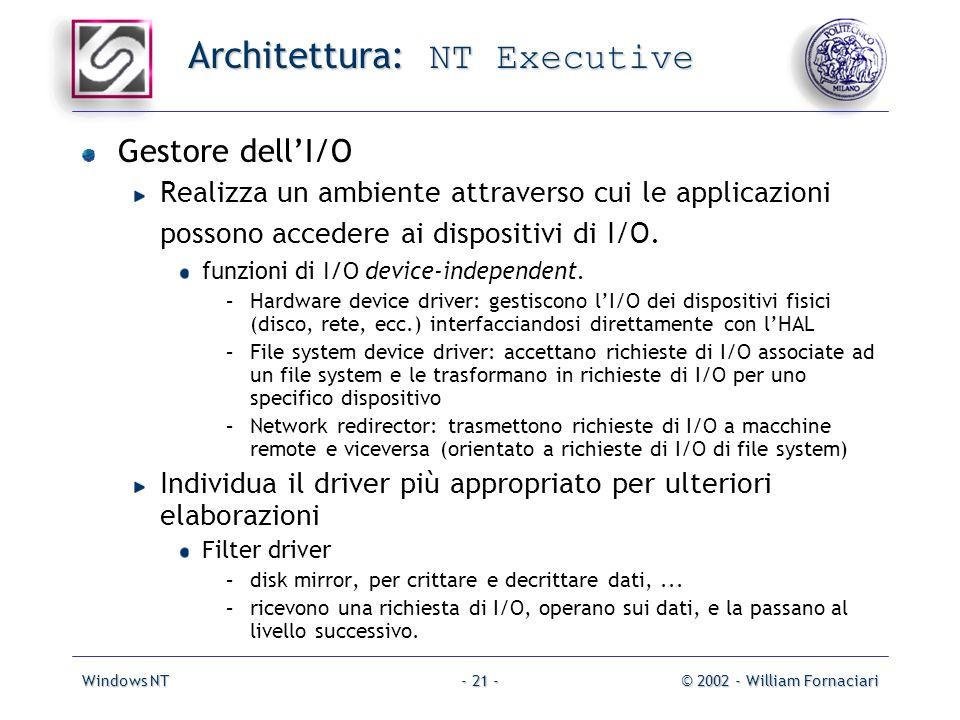 Windows NT© 2002 - William Fornaciari- 21 - Architettura: NT Executive Gestore dellI/O Realizza un ambiente attraverso cui le applicazioni possono accedere ai dispositivi di I/O.