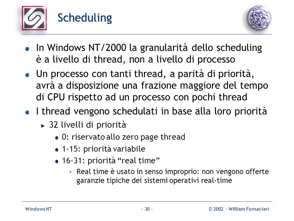 Windows NT© 2002 - William Fornaciari- 30 - Scheduling In Windows NT/2000 la granularità dello scheduling è a livello di thread, non a livello di proc
