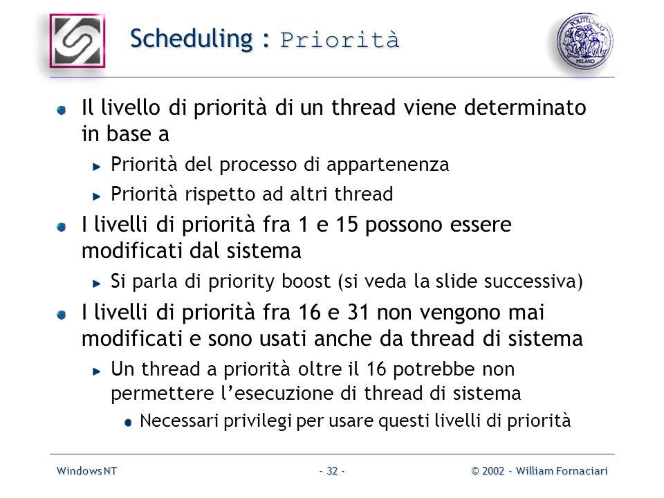 Windows NT© 2002 - William Fornaciari- 32 - Scheduling : Priorità Il livello di priorità di un thread viene determinato in base a Priorità del processo di appartenenza Priorità rispetto ad altri thread I livelli di priorità fra 1 e 15 possono essere modificati dal sistema Si parla di priority boost (si veda la slide successiva) I livelli di priorità fra 16 e 31 non vengono mai modificati e sono usati anche da thread di sistema Un thread a priorità oltre il 16 potrebbe non permettere lesecuzione di thread di sistema Necessari privilegi per usare questi livelli di priorità