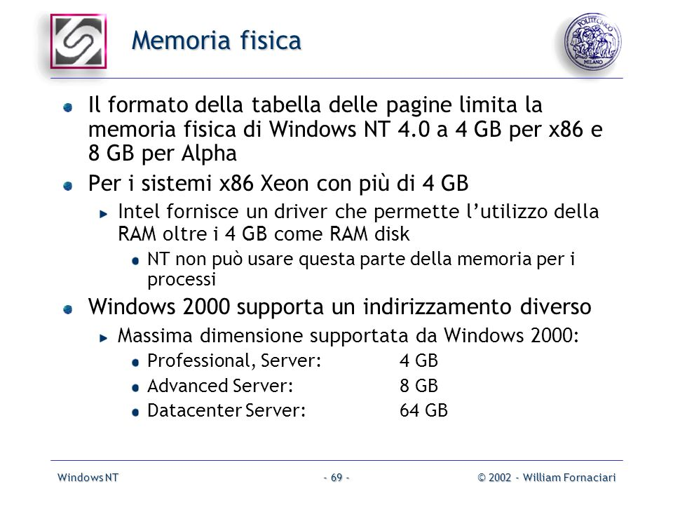 Windows NT© 2002 - William Fornaciari- 69 - Memoria fisica Il formato della tabella delle pagine limita la memoria fisica di Windows NT 4.0 a 4 GB per