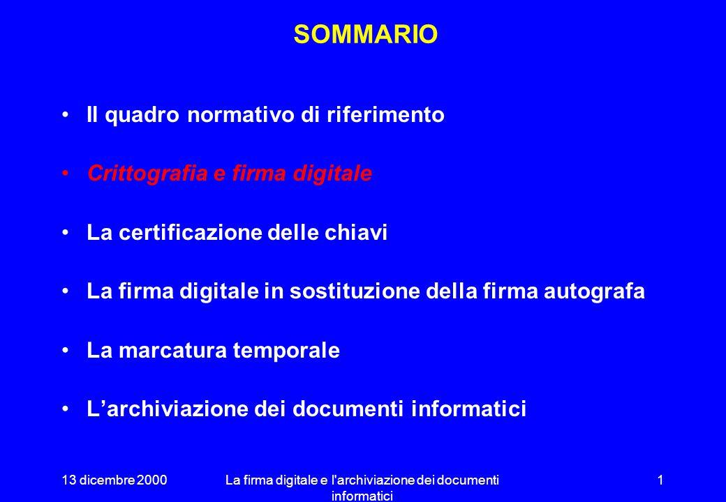 13 dicembre 2000La firma digitale e l archiviazione dei documenti informatici 11 STRUTTURA DI UN CIFRARIO ASIMMETRICO Algoritmo di codifica: C Chiave di codifica: K c X = C (K c, M ) Algoritmo di decodifica: D Chiave di decodifica: K d M = D (K d, X ) D MX KdKd C MX KcKc
