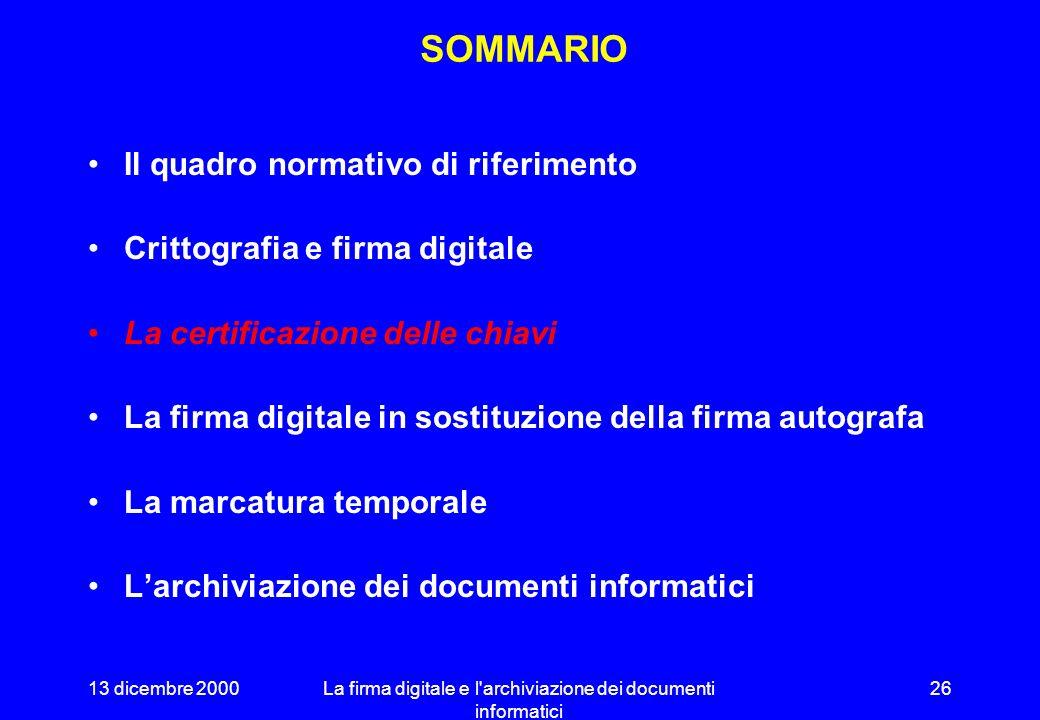 13 dicembre 2000La firma digitale e l archiviazione dei documenti informatici 25 LA DIMENSIONE DEI NUMERI 35.000 miliardi di miliardi di miliardi di anni