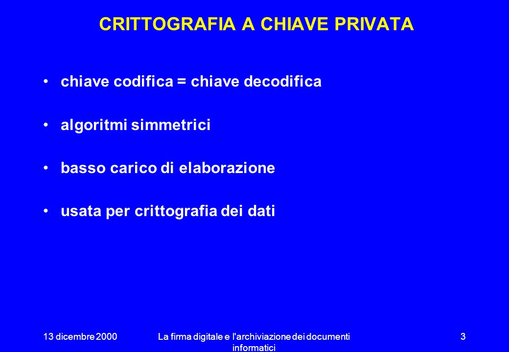 13 dicembre 2000La firma digitale e l archiviazione dei documenti informatici 23 ESEMPIO DI IMPRONTA @ECHO OFF C:\PC-CIL~1\PCSCAN.EXE C:\ C:\WINDOWS\COMMAND\ /NS /WIN95 ; PATH C:\;C:\WINDOWS;C:\UTIL;c:\utility;c:\pgp mode con codepage prepare=((850) c:\windows\COMMAND\ega.cpi) mode con codepage select=850 C:\CD-DRV\MSCDEX.EXE /D:CDROM /L:I keyb it,,c:\windows\COMMAND\keyboard.sys doskey /insert set DIRCMD= /P /O:GNE REM These lines added by the PGP Newbie installer set PGPPATH=C:\PGP set TZ=CET-01:00CEST REM The installer will have put these lines in the right place for most systems REM but they might need moving.