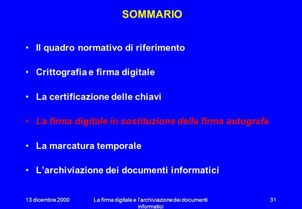 13 dicembre 2000La firma digitale e l'archiviazione dei documenti informatici 30 ESEMPIO DI CERTIFICATO Identificatore del certificato Soggetto emitte