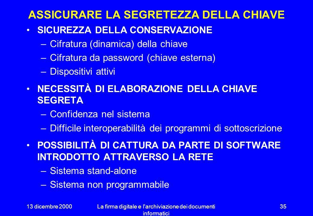 13 dicembre 2000La firma digitale e l archiviazione dei documenti informatici 34 FIRMA AUTOGRAFA E FIRMA DIGITALE