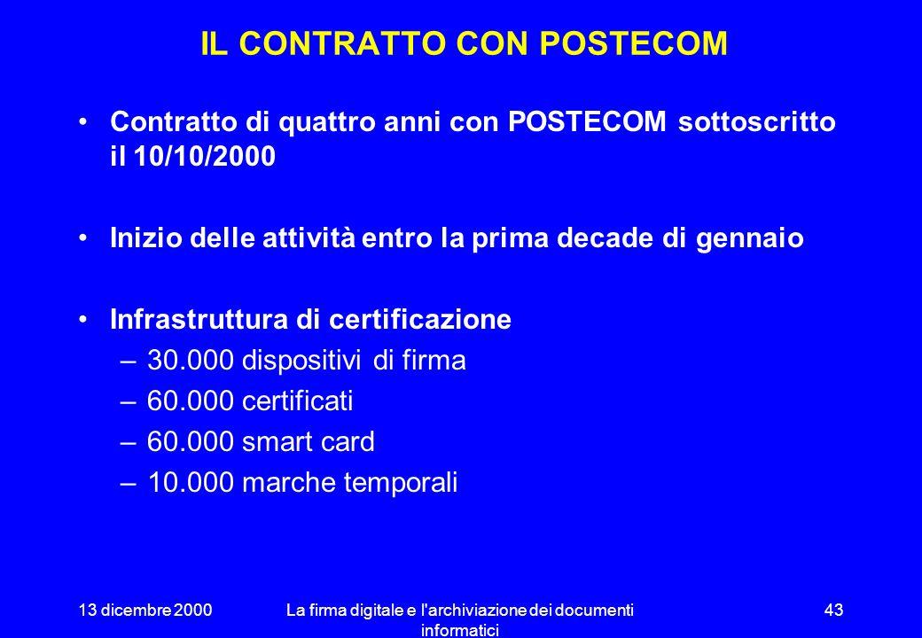 13 dicembre 2000La firma digitale e l archiviazione dei documenti informatici 42 LA CERTIFICAZIONE SULLA RETE UNITARIA Il Centro Tecnico svolge attività di certificazione e validazione temporale per i soggetti che utilizzano la R.U.P.A.