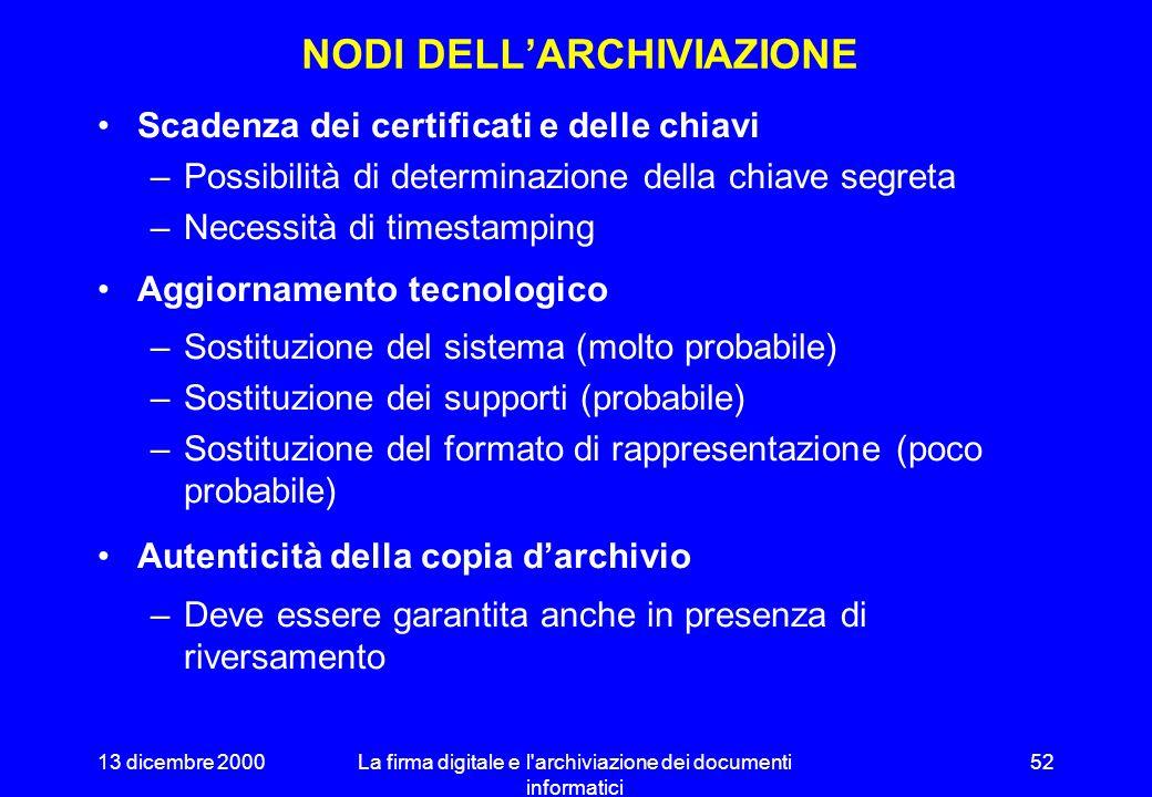 13 dicembre 2000La firma digitale e l'archiviazione dei documenti informatici 51 LA DELIBERAZIONE 24/98